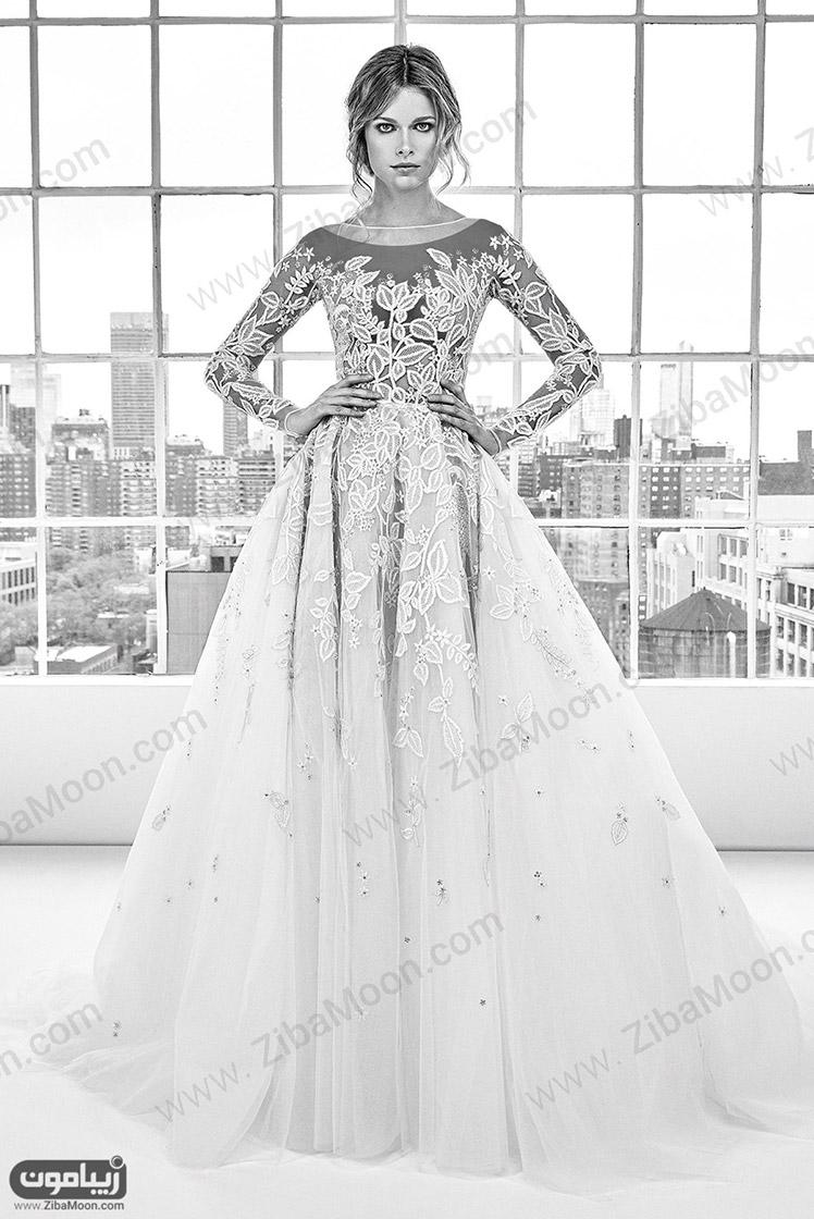 لباس عروس جدید با آستین بلند و دانتل برجسته