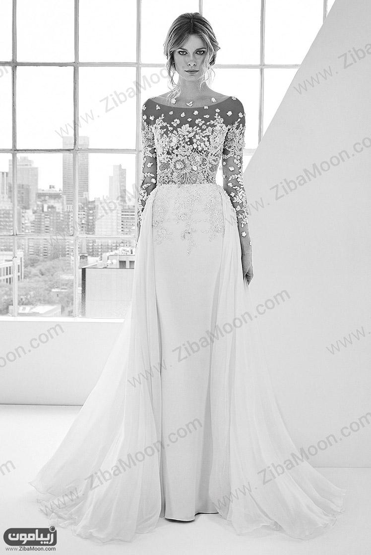 لباس عروس جدید شکوفه دوزی شده