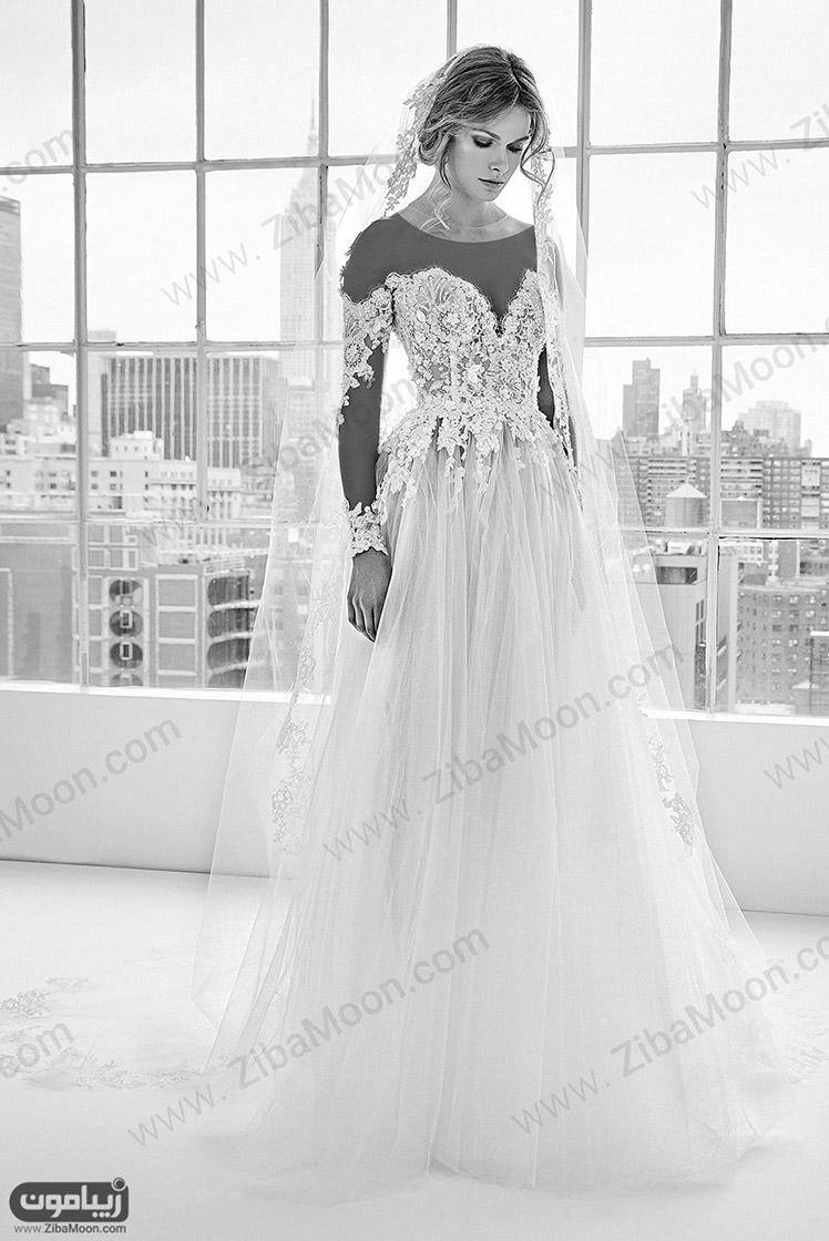 مدل لباس عروس جدید با آستین گیپوری