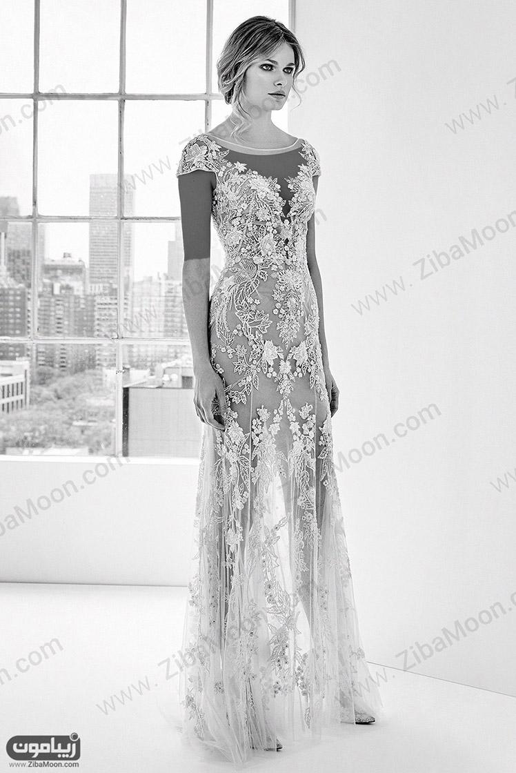 مدل لباس عروس جدید با دانتل برجسته