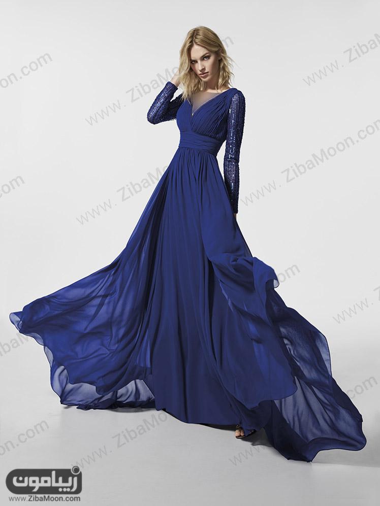 لباس شب آبی پررنگ با آستین بلند و دامن حریری