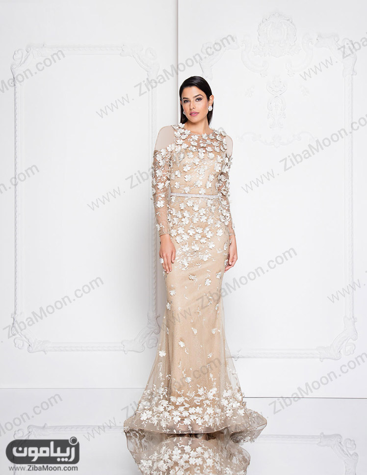 لباس مجلسی آستین بلند و شکوفه ای