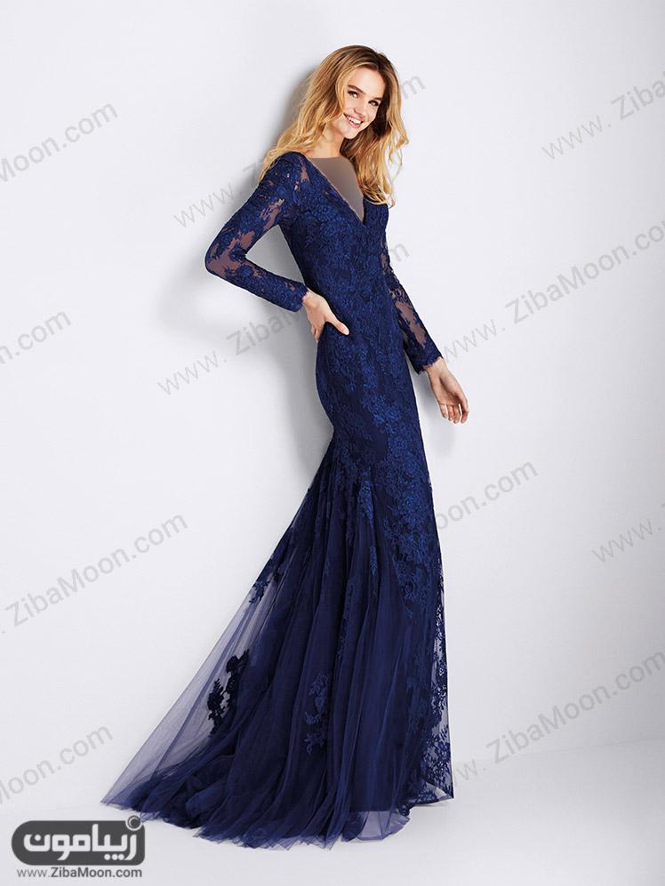مدل دامن بلند مجلسی کرپ لباس مجلسی 2018 آستین بلندهای باکلاس به همراه تصاویر
