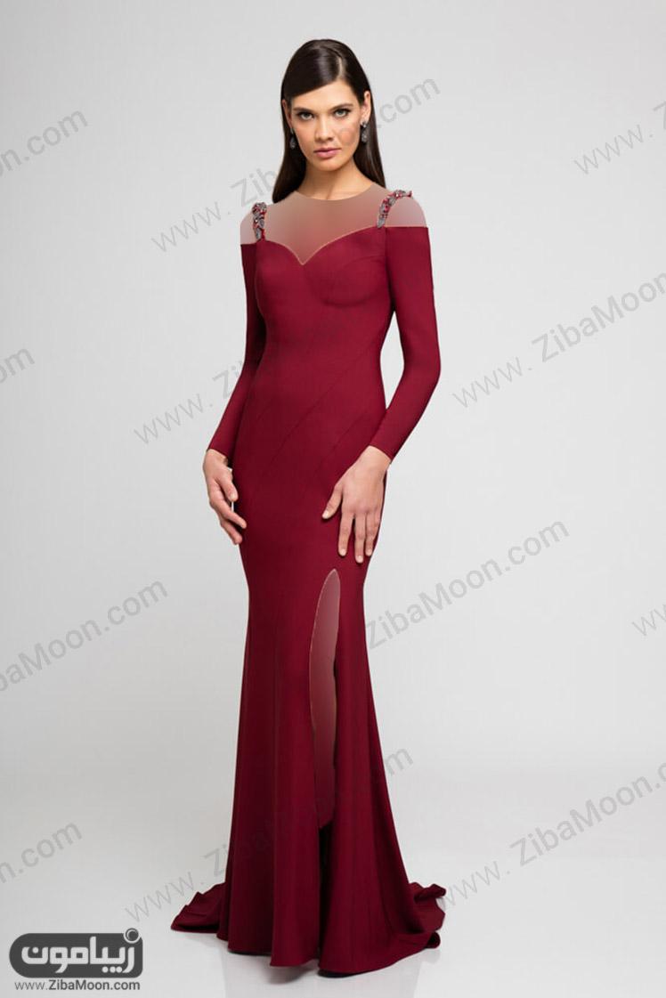 لباس مجلسی زرشکی ساده با آستین بلند