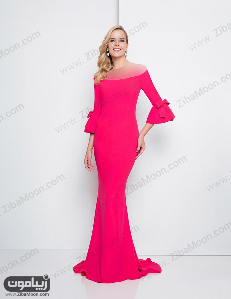 لباس مجلسی شیک صورتی پررنگ با آستین بلند
