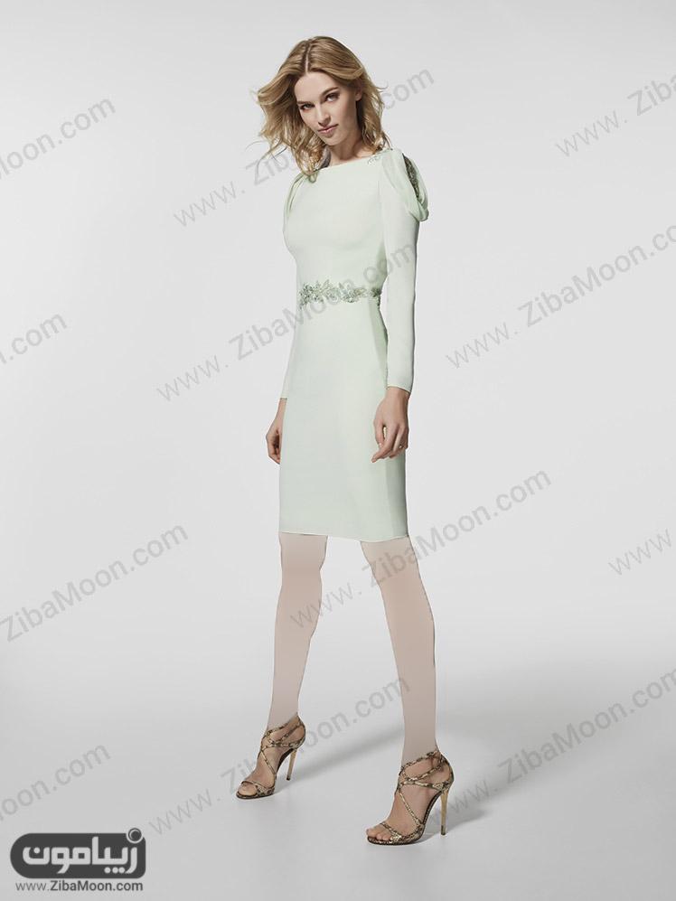لباس مجلسی کوتاه سفید با آستین بلند