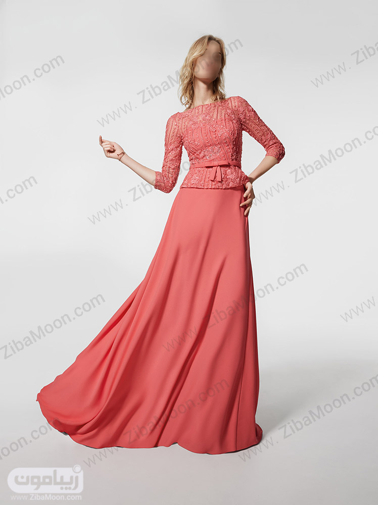 لباس مجلسی گلبهی با آستین بلند