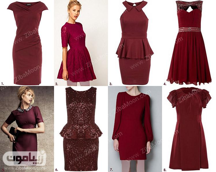 لباس مجلسی با رنگ لباس قرمز مارون