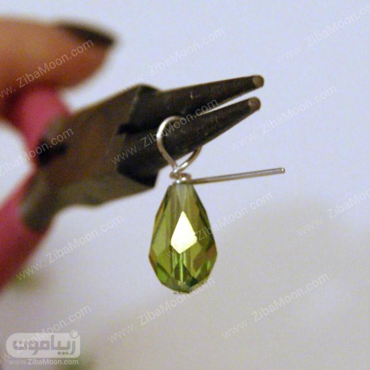 درست کردن حلقه کوچک در بالای کریستال سبز