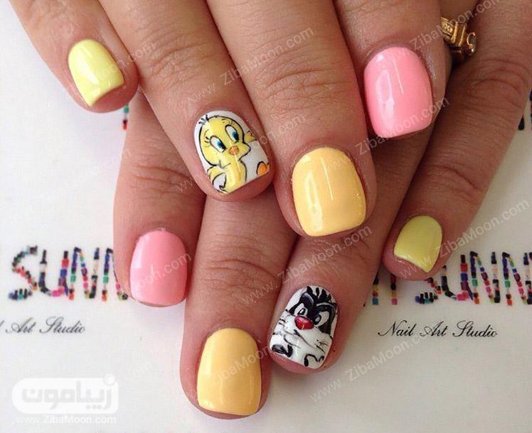 طراحی ناخن کوتاه با لاک زرد و صورتی ملایم