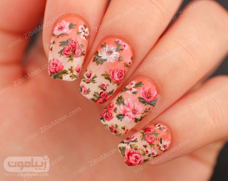 طراحی ناخن گل با لنز ناخن