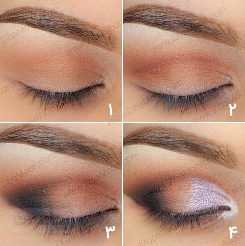 مراحل آرایش چشم بنفش