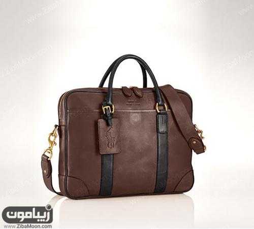 کیف چرم قهوهای با بند مشکی
