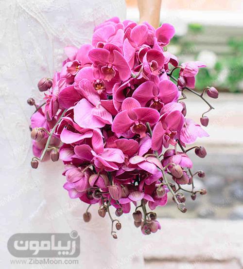 دسته گل عروس با گل ارکیده صورتی