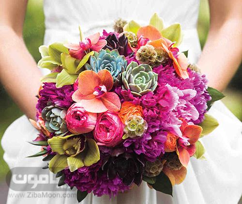 دسته گل پاییزی عروس با گلهای بنفش و نارنجی