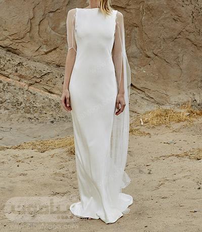 لباس عروس ساده با آستین توری و بلند