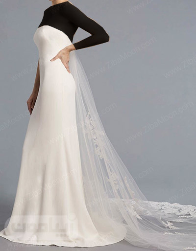 لباس عروس ساده با دنباله توری