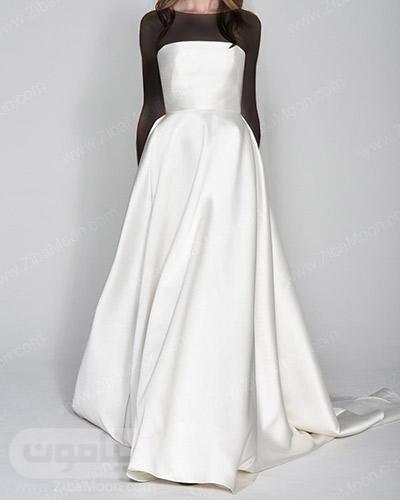 لباس عروس ساده و شیک با یقه دکلته