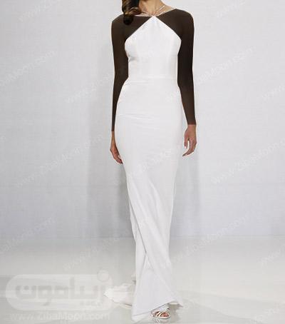 لباس عروس شیک با یقه زیبا و خاص
