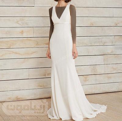 لباس عروس ساده با یقه هفتی شکل