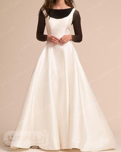 لباس عروس ساده با یقه کرد و دامن چین دار