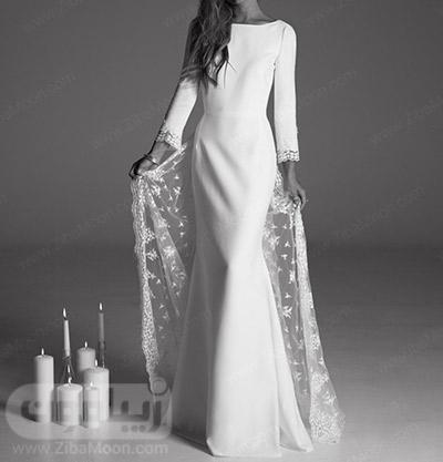 لباس عروس آستین بلند با دنباله گیپوری