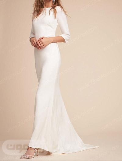 مدل لباس عروس ساده و آستین بلند