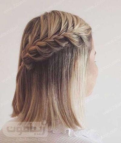 بافت مو آبشاری یکطرفه روی موهای کوتاه