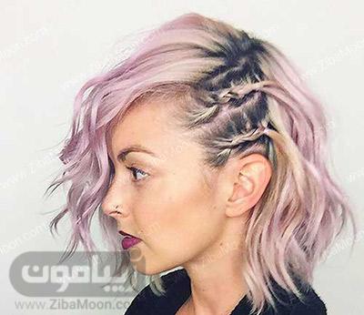 بافت مو دوتایی در کنار سر برای موهای کوتاه و خاص