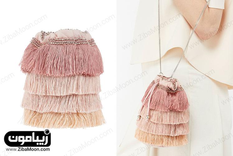 کیف دستی اسپرت با رنگ های پاستلی و سنگدوزی