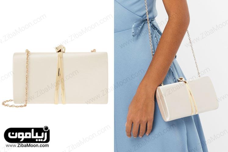 کیف دستی شیری با زنجیر و قلاب طلایی