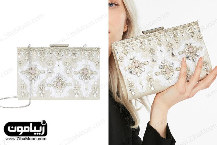 کیف دستی کرم سفید با کریستال دوزی و سنگدوزی