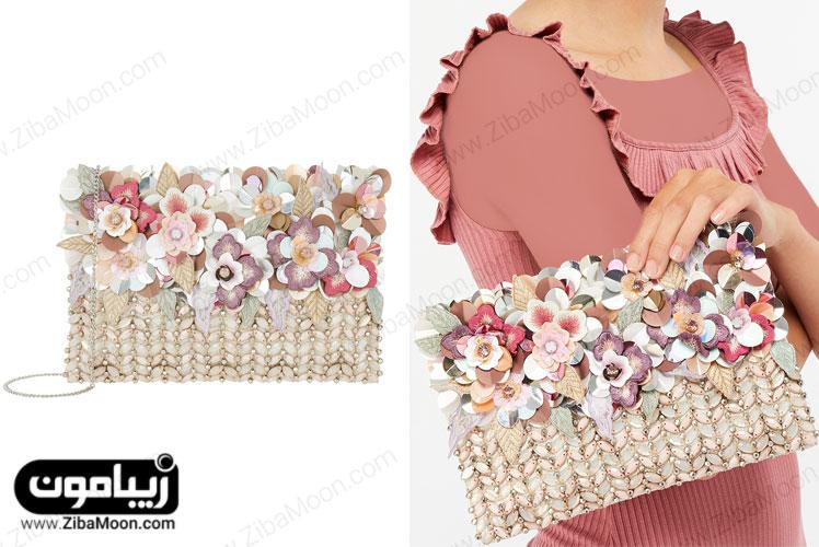 کیف دستی گلدار با کریستال دوزی و مروارید دوزی
