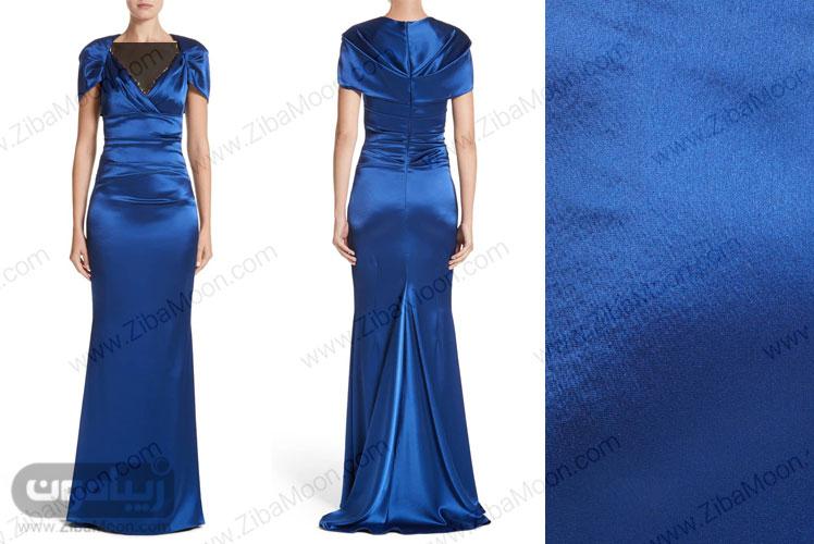 لباس مجلسی آبی کاربنی با آستین پیلیسه دار و دم ماهی