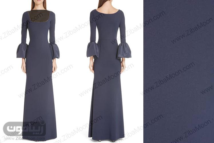 لباس مجلسی سورمه ای تیره با آستین های مدل زنگوله