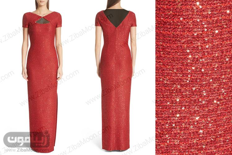 لباس مجلسی قرمز حنایی با پولک دوزی ظریف و شیک