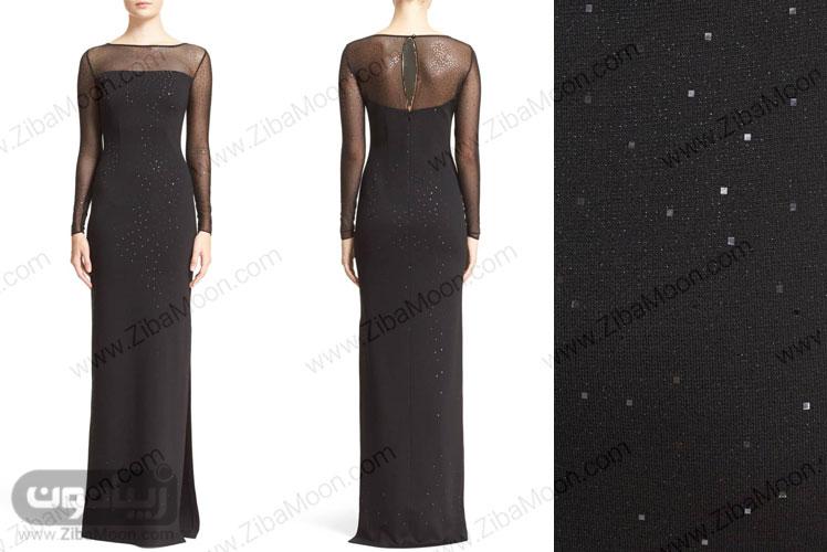لباس مجلسی مشکی متالیک با پولک نقره ای و پارچه کار شده
