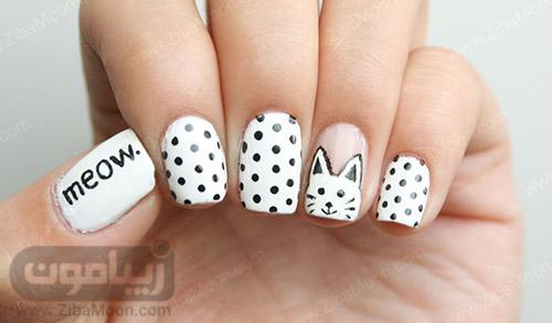 طراحی ناخن خال خالی سیاه و سفید و طرح گربه