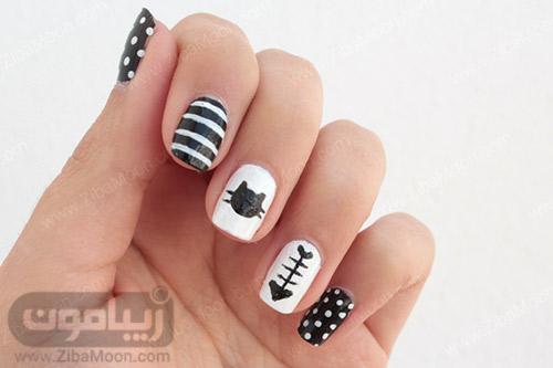 مدل ناخن ساده با لاک سیاه و سفید و طرح گربه