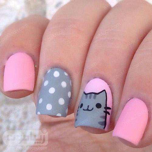 مدل ناخن با لاک صورتی و توسی و طرح گربه کارتونی