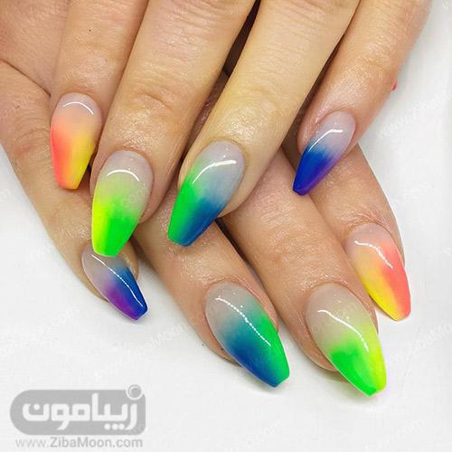 طراحی ناخن سایه روشن با رنگهای فانتزی
