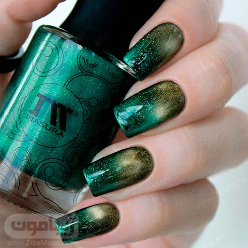 طراحی ناخن سایه روشن شیک با لاک سبز و طلایی متالیک