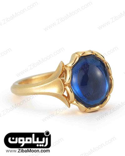 انگشتر طلایی با سنگ آبی