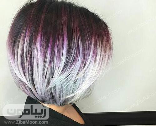 مدل مو کوتاه با رنگ مو بنفش و خاکستری