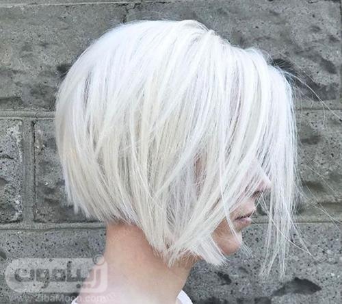 مدل مو کوتاه لایه ای با رنگ مو بلوند یخی