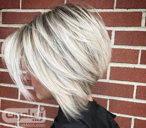 مدلم و کوتاه نامتقارن با رنگ مو خاکستری