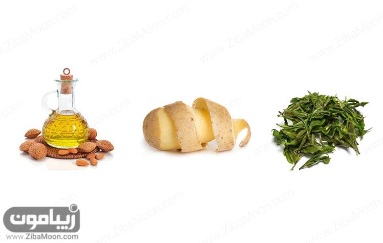 سیب زمین چای سبز روغن بادام