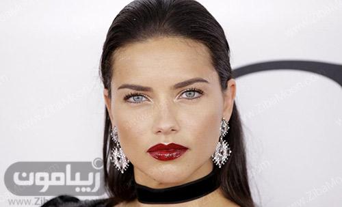 چهره آدریانا لیما با رژلب قرمز