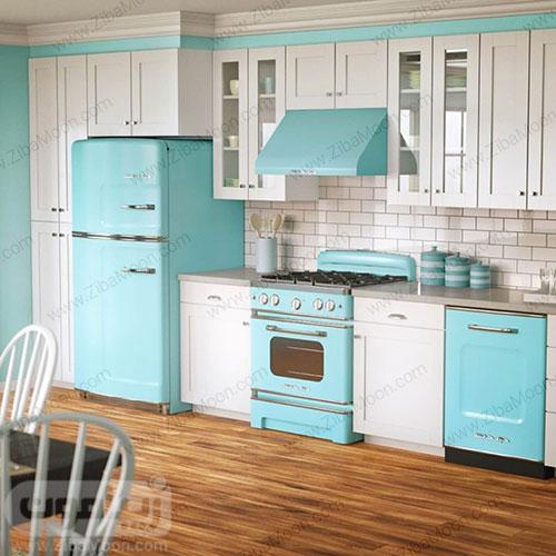 آشپزخانه سفید آبی