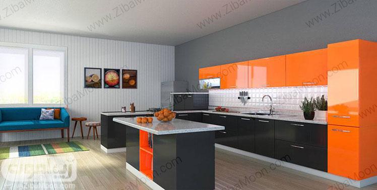 کابینت هایگلاس نارنجی و مشکی